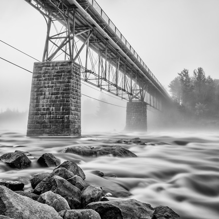 Long exposure shot of a rapid flowing river
