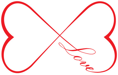 Infinite Love - Two hearts and the word love forming the infinity sign
