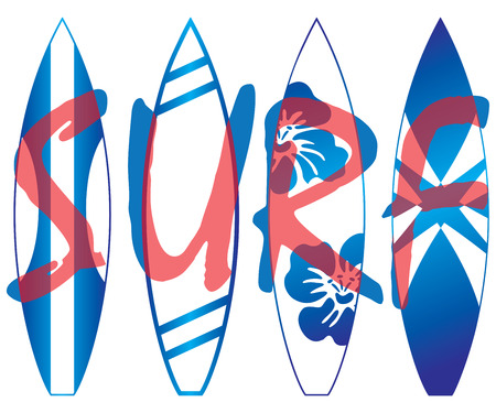 Illustration of four surf boards. On the top layer, you can read the word S U R F.
