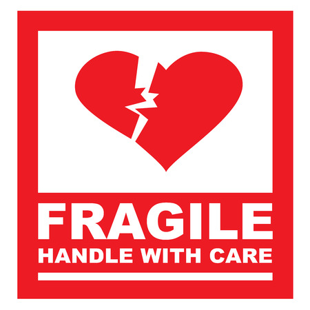 Fragile, handle with care sticker. The box is replaced by a heart.