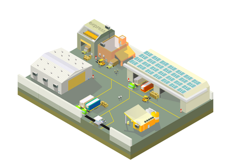 refrigerated: Medium import factory isometric Illustration