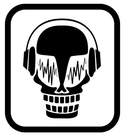 Skull in headphones Vector
