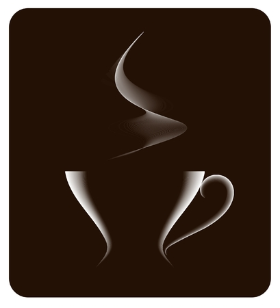 coffeecup: vector white coffee cup on dark brown background