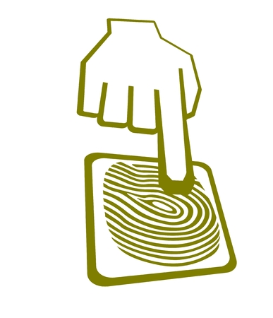 lock  futuristic: Vector icona della mano cliccando dispositivo scanner di impronte digitali