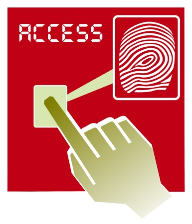 safely: Vector illustration  hand over fingerprint scanner device Illustration