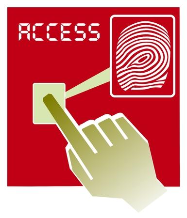 lock  futuristic: Vector illustration mano sul dispositivo di scanner di impronte digitali Vettoriali