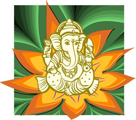 shanti: Sree Ganesha tribal god of vedic religion vector