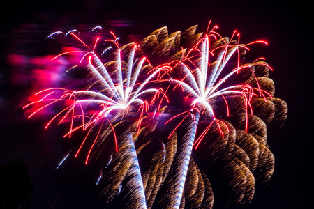 Firework fireworks celebration pair of red gold white_ Stock Photo