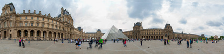 Panorama view of Louvre Museum Pyramide du Louvre Paris