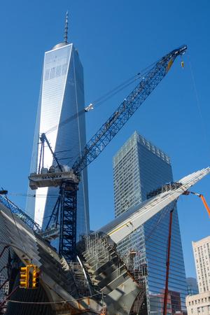 Construction sight crane Westfield World Trade Center Manhattan New York