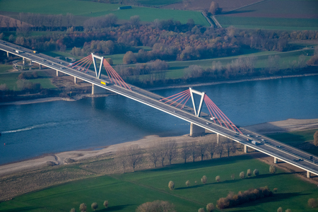 Bridge over the river Rhine in Germany close to Duesseldorf in late summer season Stock Photo