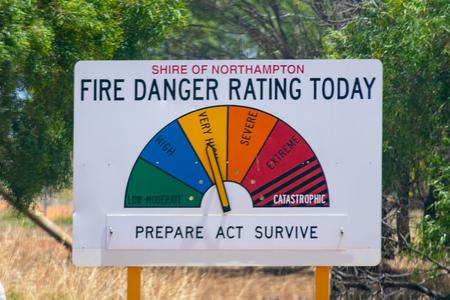 Fire Danger Rating Today street sign in Australia