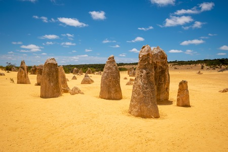 The Pinnacles dessert in Western Australia with its famous upright standing stalagmites in sand