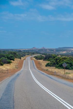 Road leading through australian bush landscape during hot spring Stockfoto