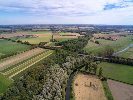 Aerial image of the Niederrhein landscape in the west of Germany