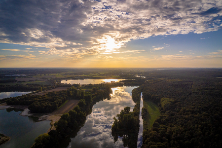 Aerial images of artificial lakes in the West German region called Niederrhein