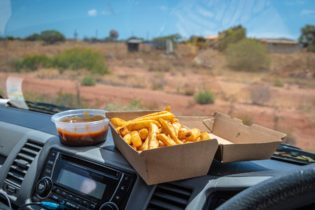 The Traditional trucker dish fries and gravy in Carnarvon Western Australia