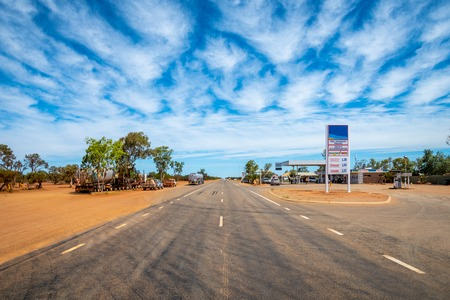 Petrol station in Australian dessert outback along endless straight road
