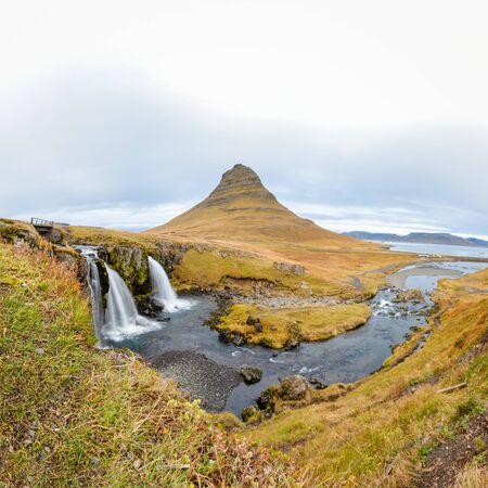 Kirkjufell in Iceland Kirkjufellsfoss waterfall square panorama of fall and the famous mountain
