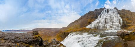West fjords of Iceland Dynjandi waterfall panorama of fall during sunny weather 版權商用圖片