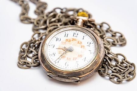Close up of old wind up pocket watch worn with silver chain made in switzerland, europe