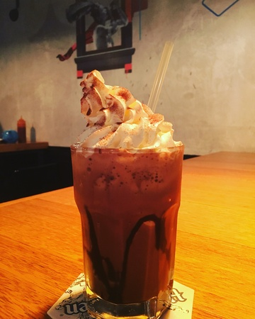 blended: Chilling night with a cup of ice blended mocha Stock Photo