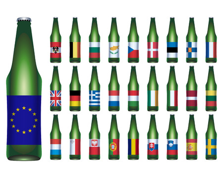 EU Flags on Beer Bottles  Stock Vector - 7570135
