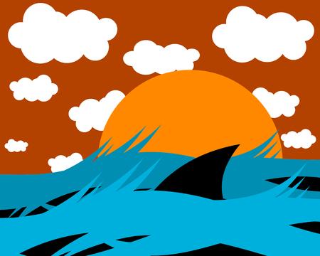 swiming: Shark Swiming at Sunset