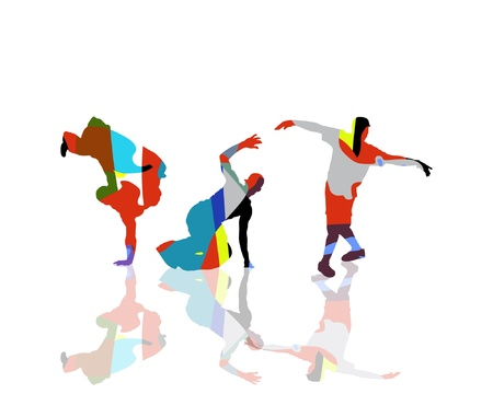 hip hop girl: Abstract Dancing Silhouettes on white background