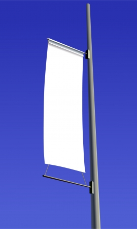outdoor advertising: Blank white sign with a copy space area hanged from a long pole