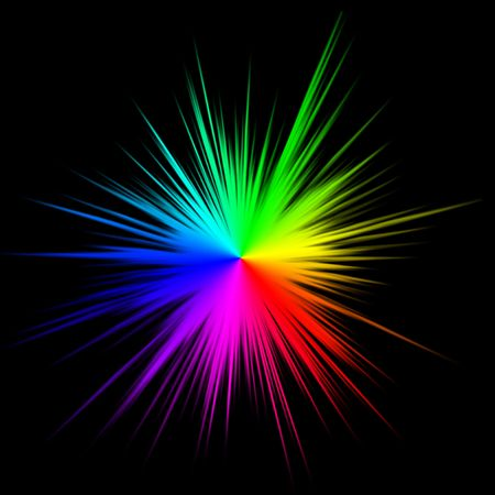 rainbow color star: Colorful star burst