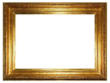 Golden photo frames clipping path   Stock Photo