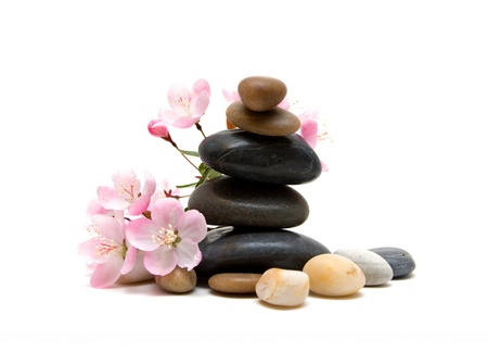 complementary therapy: Zen   spa stones with flowers Stock Photo