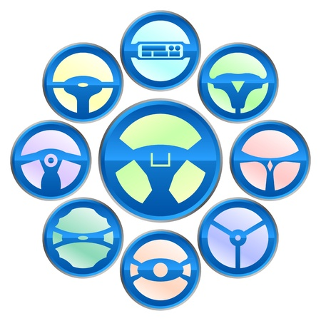 steering wheel icon Stock Vector - 12814316