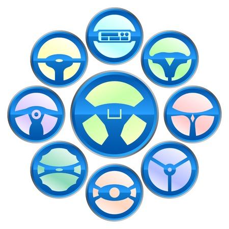 airbag: steering wheel icon Illustration