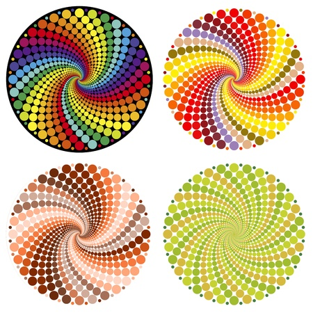 Optical illusion with clolorful dots