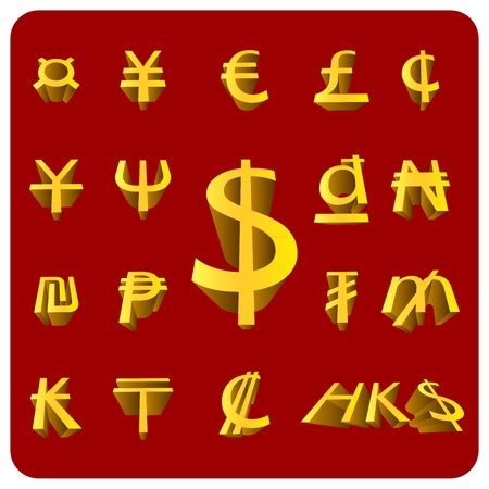 Vector 3D Currency symbol Stock Vector - 12876668
