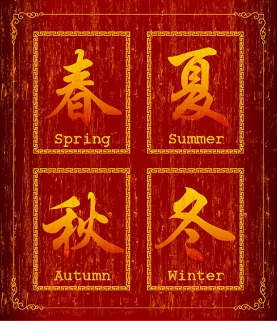 chinese script: Chinese character symbol about Season Illustration