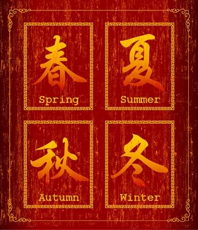 Symbole de caract�res chinois sur la Saison