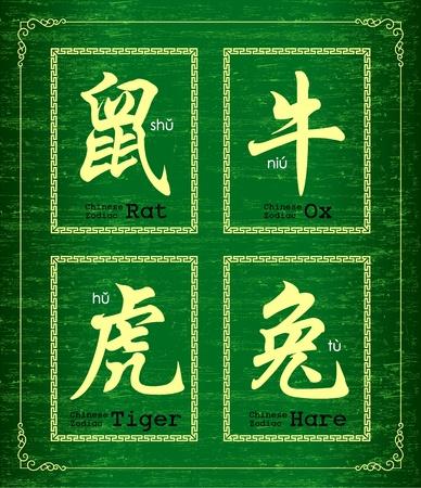 Chinese character symbol about Chinese zodiac Vektorové ilustrace