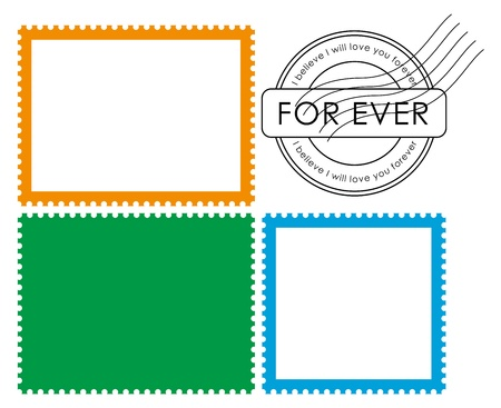 perforated stamp: Blank postage stamp-Vector Illustration