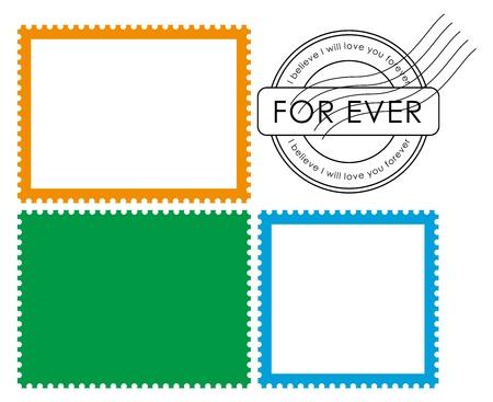 postal stamp: Blank postage stamp-Vector Illustration