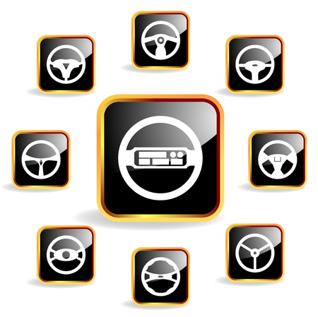 Car steering wheel crystal icon Vector