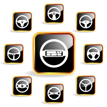 Car steering wheel crystal icon Stock Vector - 13030974