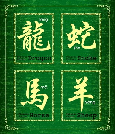 chinese script: Chinese character symbol about Chinese zodiac Illustration
