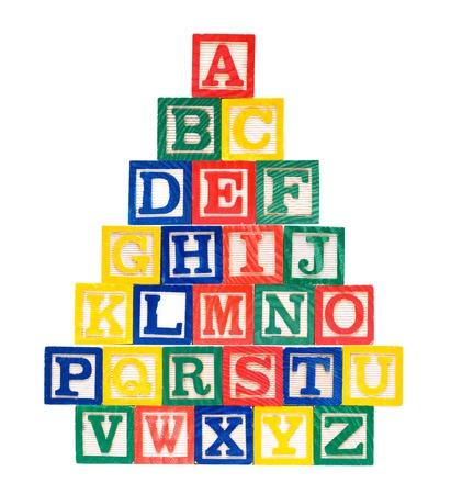 Alphabet en bois Blocs-ABCD Banque d'images
