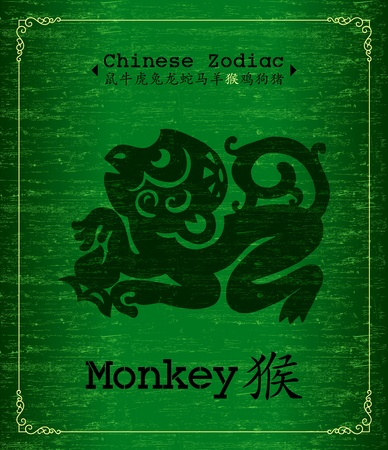 silueta mono: Zodiaco Chino-mono