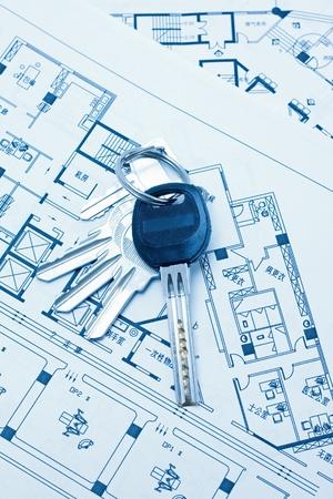House keys and plan photo