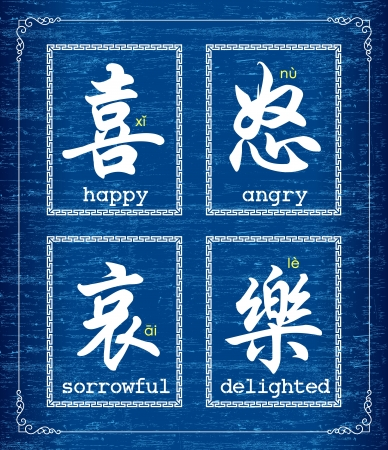 Chinese character symbol about emotions