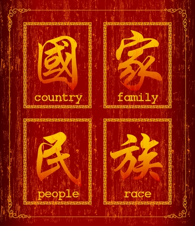 family history: Chinese character symbol about society